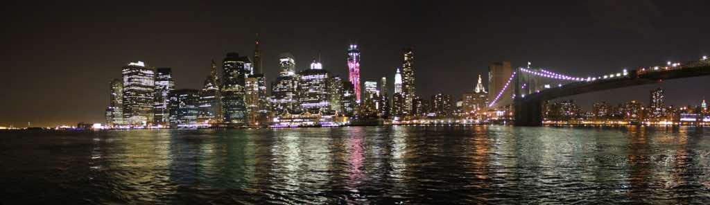 Brooklyn Köprüsünden New York Manhattan Panoraması
