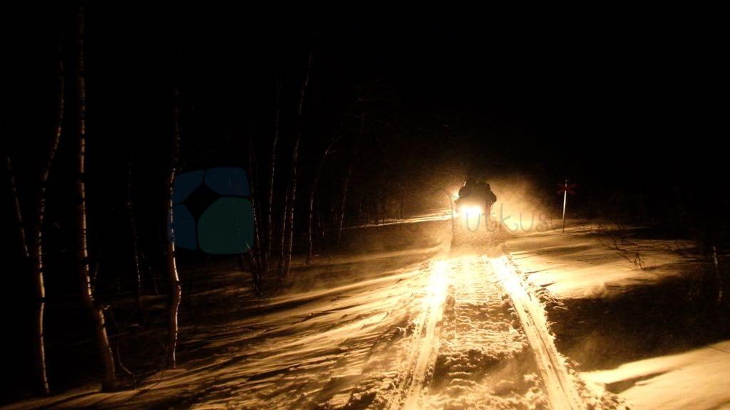 Lapland Gece kar kızağı aktivitesi
